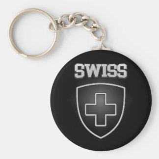 Swiss Emblem Basic Round Button Keychain