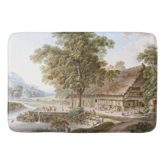 Swiss Farmhouse Alps Mountains River Bath Mat