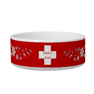 Swiss flag and edelweiss bowl