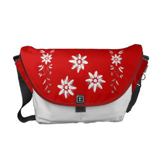 Swiss flag and edelweiss courier bag