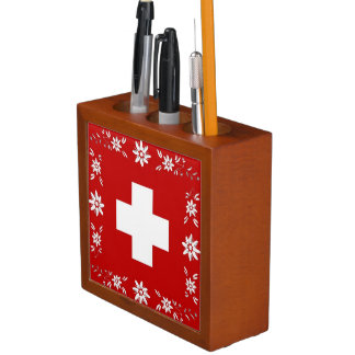 Swiss flag and edelweiss desk organizer