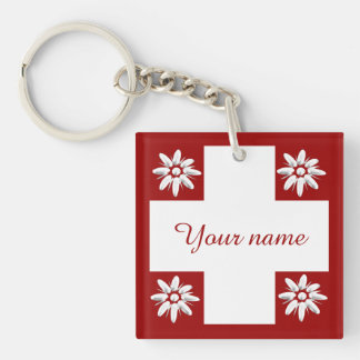 Swiss flag and edelweiss Double-Sided square acrylic keychain