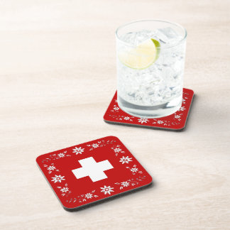 Swiss flag and edelweiss drink coasters