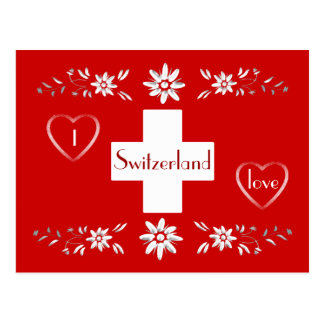 Swiss flag and edelweiss postcard