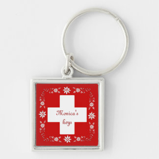 Swiss flag and edelweiss Silver-Colored square keychain