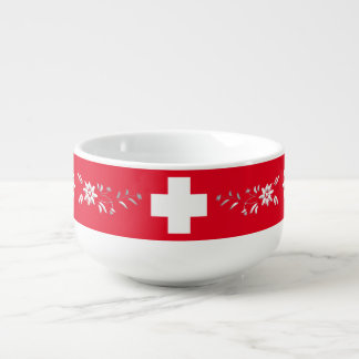 Swiss flag and edelweiss soup bowl with handle
