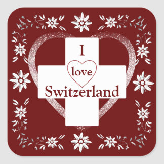 Swiss flag and edelweiss square sticker