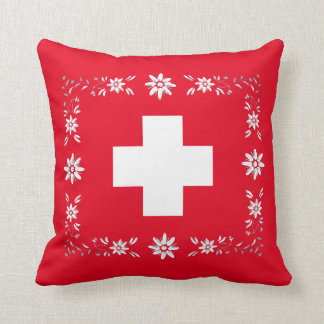 Swiss flag and edelweiss throw pillow