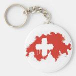 Swiss Flag Basic Round Button Keychain