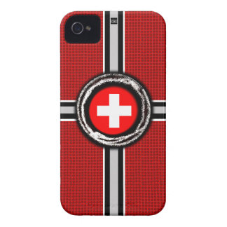 Swiss Flag Emboss Red iPhone 4 ID Case