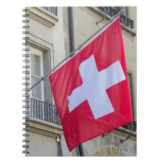 Swiss Flag - Old City of Bern - Switzerland Spiral Note Book