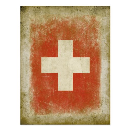 Swiss Flag Postcard in Cool Vintage Style