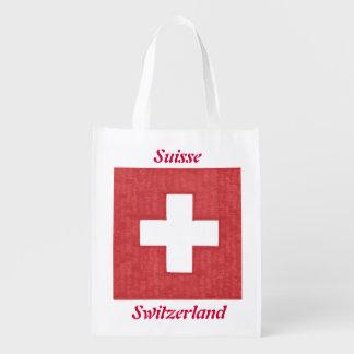 Swiss flag reusable grocery bag