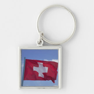 Swiss Flag RF) Silver-Colored Square Keychain