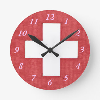 Swiss flag round wall clock