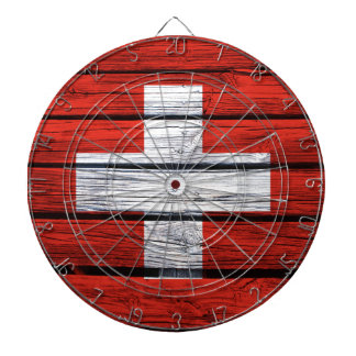 Swiss Flag Rustic Wood Bag Dartboard