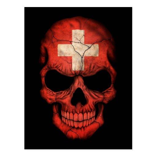 Swiss Flag Skull on Black Postcards