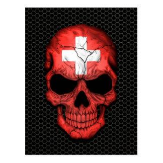 Swiss Flag Skull on Steel Mesh Graphic Post Card