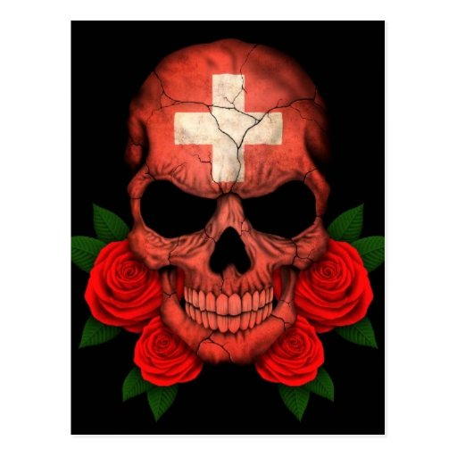 Swiss Flag Skull with Red Roses Postcard