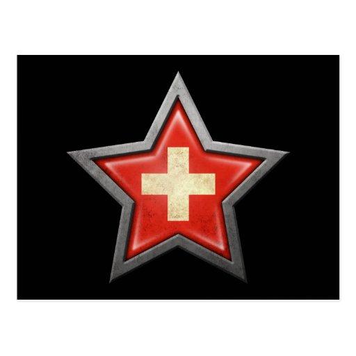 Swiss Flag Star on Black Post Card