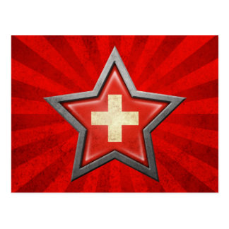 Swiss Flag Star with Rays of Light Postcards