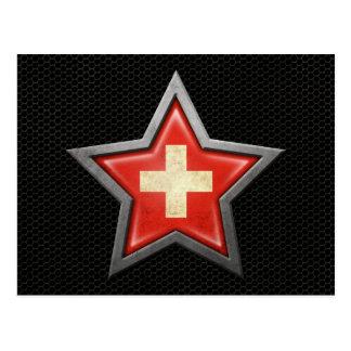 Swiss Flag Star with Steel Mesh Effect Postcard