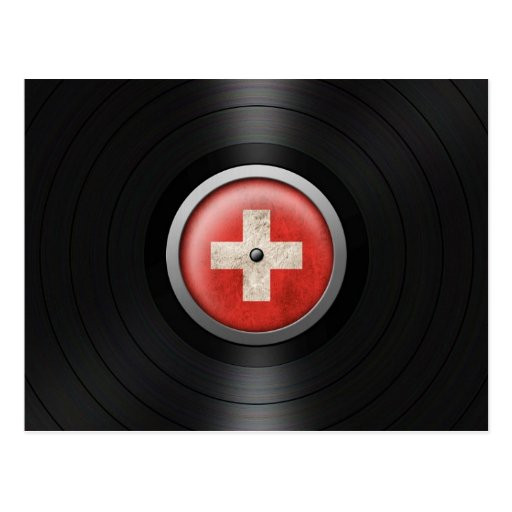 Swiss Flag Vinyl Record Album Graphic Postcards