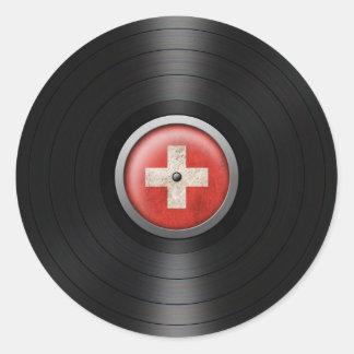 Swiss Flag Vinyl Record Album Graphic Round Sticker
