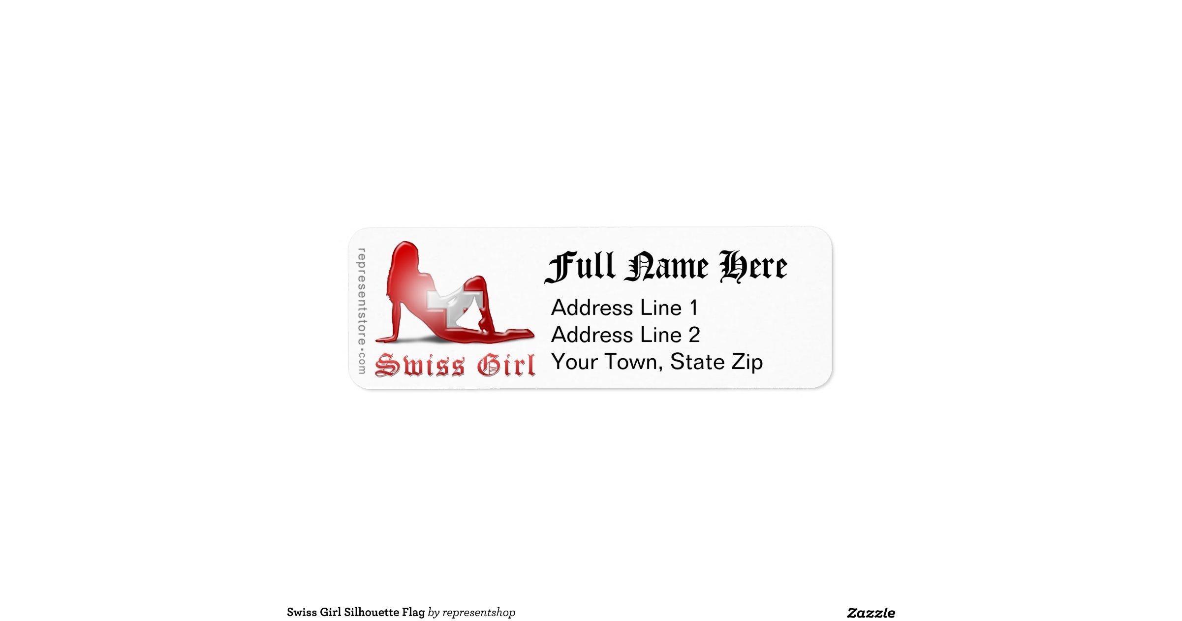 avery 6870 template - swiss girl silhouette flag return address label zazzle