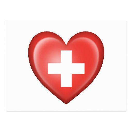 Swiss Heart Flag on White Post Card