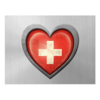 Swiss Heart Flag Stainless Steel Effect Postcard