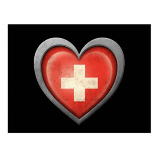 Swiss Heart Flag with Metal Effect Post Card