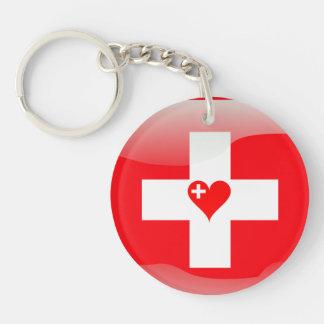 Swiss heart keychain