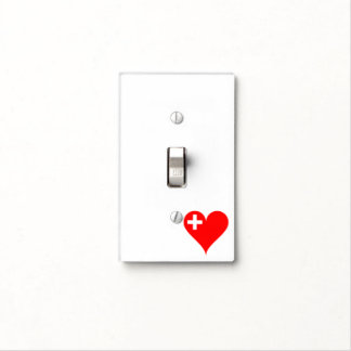 Swiss heart light switch cover