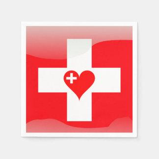 Swiss heart paper napkin