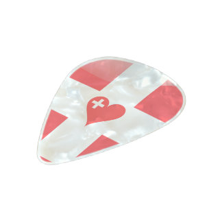Swiss heart pearl celluloid guitar pick
