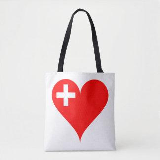 Swiss heart tote bag