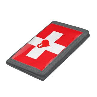Swiss heart tri-fold wallet