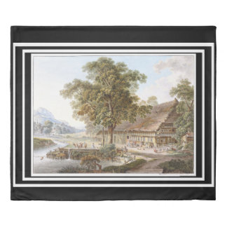 Swiss House Farmhouse River Alps Duvet Cover