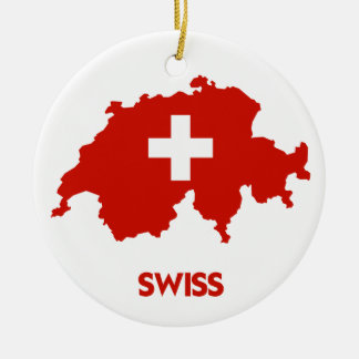 SWISS MAP CERAMIC ORNAMENT