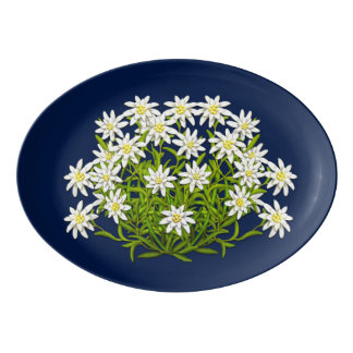 Swiss Mountain Edelweiss Flowers Porcelain Platter
