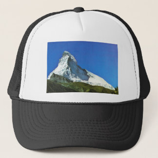 Swiss mountain scene trucker hat
