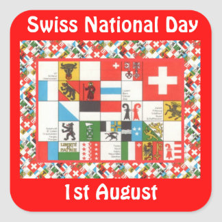 Swiss National Day, 1st August Square Stickers