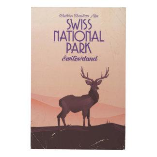 Swiss national park vintage travel poster