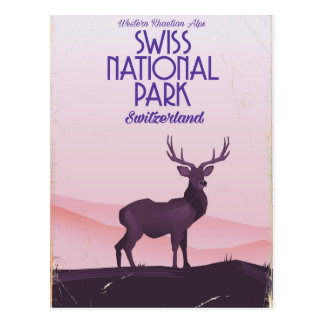 Swiss national park vintage travel poster postcard