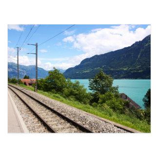 Swiss railway track postcard