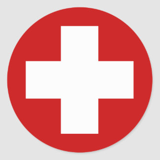 Swiss Red Cross Emergency Roundell Classic Round Sticker
