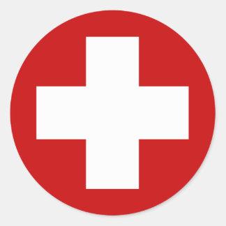 Swiss Red Cross Emergency Roundell Round Sticker