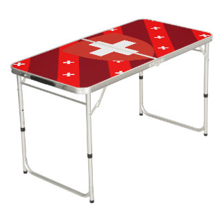 Swiss stripes flag beer pong table