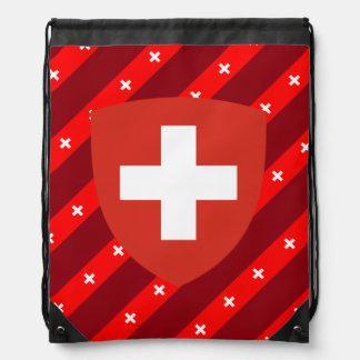 Swiss stripes flag drawstring bag